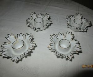 4 Kerzenhalter Lindner Porzellan 3,5 cm hoch Handarbeit weiß-gold Nr. 3314 - Bergisch Gladbach, Deutschland - 4 Kerzenhalter Lindner Porzellan 3,5 cm hoch Handarbeit weiß-gold Nr. 3314 - Bergisch Gladbach, Deutschland