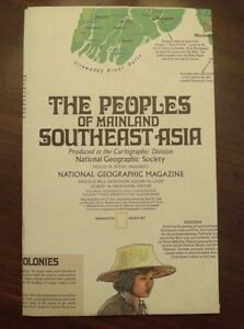 National Geographic MAP The Peoples Of Mainland Southeast Asia March 1971