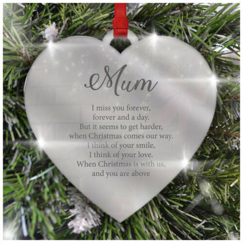 PERSONALISED Remembrance Christmas Tree Decoration Mirror Acrylic Robin Memorial