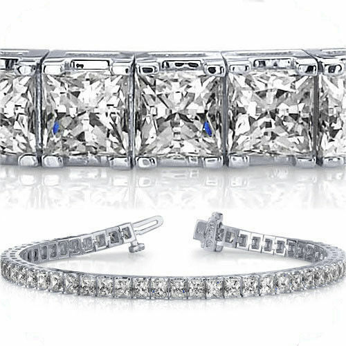 13.2 ct Princess cut Diamond Tennis Bracelet 14K White gold F-G color VS