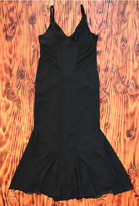 Black-Dress-Full-Length-With-Mermaid-Skirt-Sexy-Fit-Alfredo-Venini-Size-Large