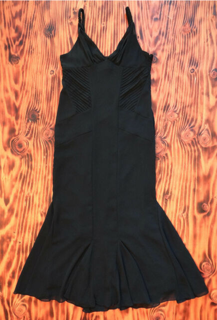 Black Dress Full Length With Mermaid Skirt Sexy Fit Alfredo Venini Size Large