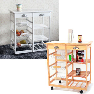 Details About Kitchen Island Cart Trolley Portable Rolling Storage Dining Table 2 Drawers