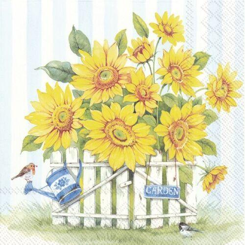 """4 Servietten /""""SUNFLOWER GARDEN/"""" 33x33 Napkins Sonnenblumen Tiere Vögel Sommer"""