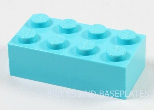 From New Sets Sent in a Clear Sealed Bag LEGO BRICKS 25 x MEDIUM AZURE 2x4 Pin