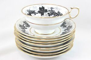 7-SETS-HAMMERSLEY-T-GOODE-4531-CHINA-FOOTED-CUP-amp-SAUCER-BLACK-GOLD-WHITE-GRAPES