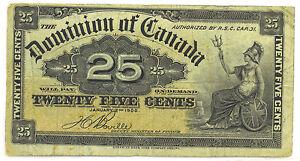 Dominion-of-Canada-1900-25-Cents-Shinplaster-Boville-Signature-Fine