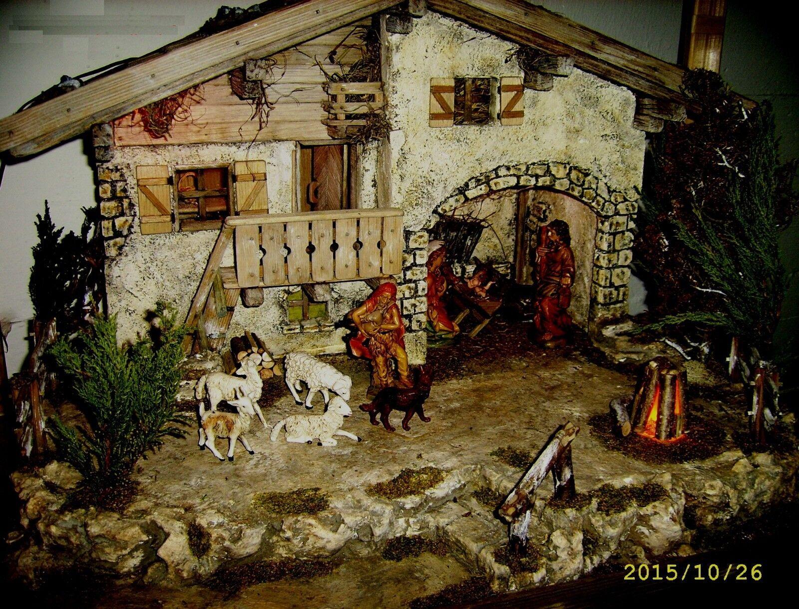 Oberbayrische crèche-artisanat-épicéa - 66x50x44 CM-illuminé-peint