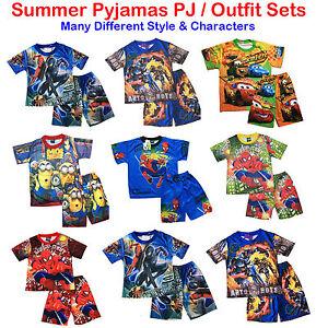 NEW-Sz-2-8-KIDS-SUMMER-PYJAMAS-BOYS-OUTFIT-TOP-PJ-PJS-SLEEPWEAR-NIGHTIE-TSHIRT