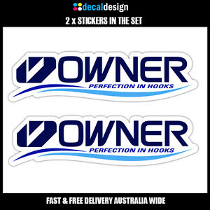 OWNER-HOOKS-Decal-x2-22cm-wide-stickers-to-suit-Fishing-Boat-Tackle-box-tinnie