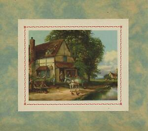 VINTAGE-THATCHED-FARM-HOUSE-COTTAGE-WHITE-HORSE-CHICKENS-STREAM-CHURCH-ART-PRINT