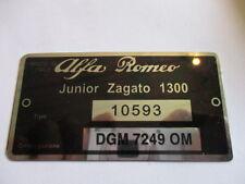 Typenschild Alfa Romeo schild ID-plate 10593 junior zagato 1300 s24