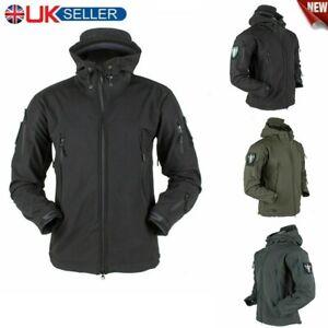Men/'s Coat Waterproof Military Jacket Winter Hooded Breathable Tactical Coat UK