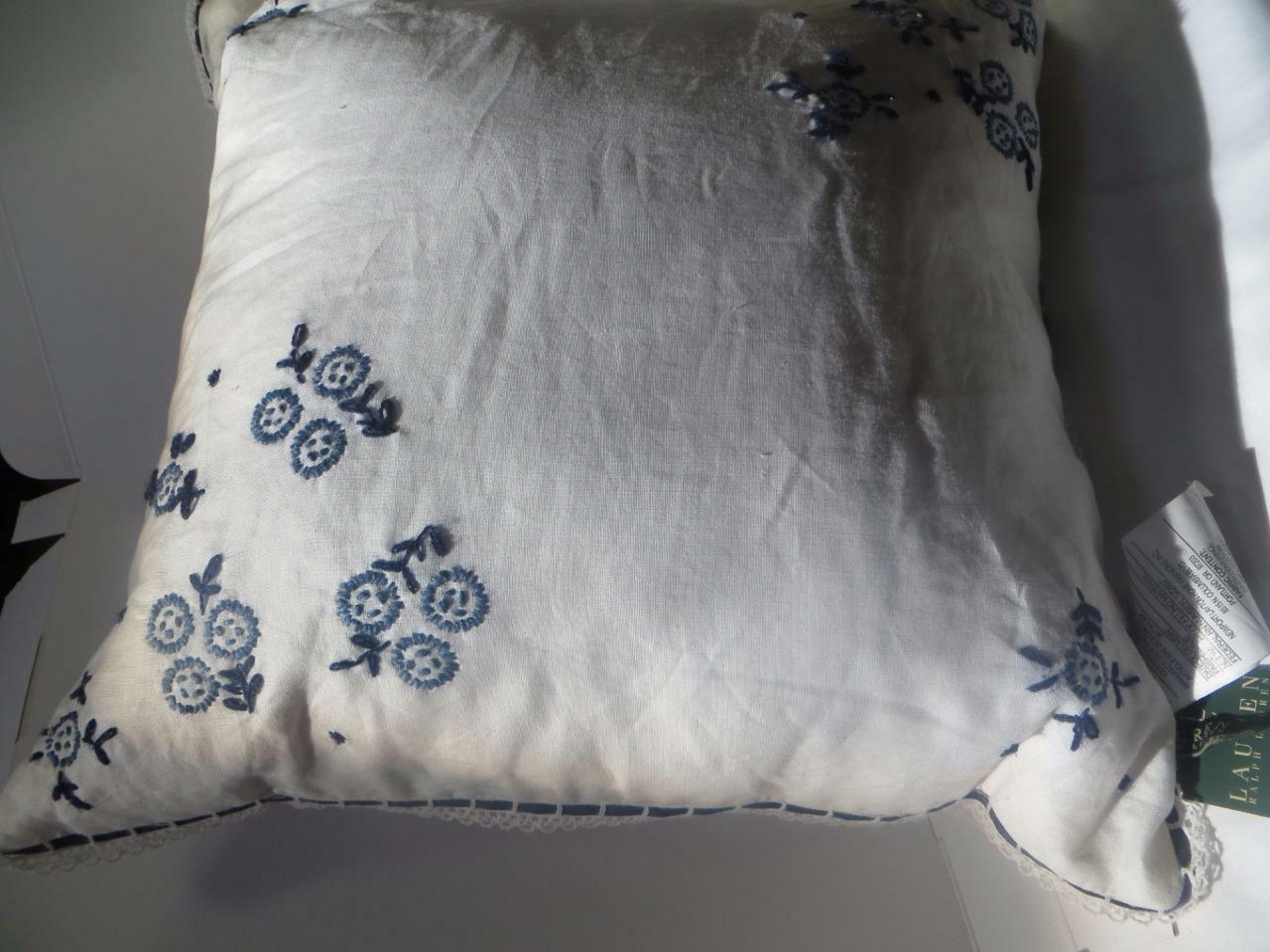 Ralph Lauren Cote D'azur Linen Lace Insert & Embroidery 20x 20 in Pillow New