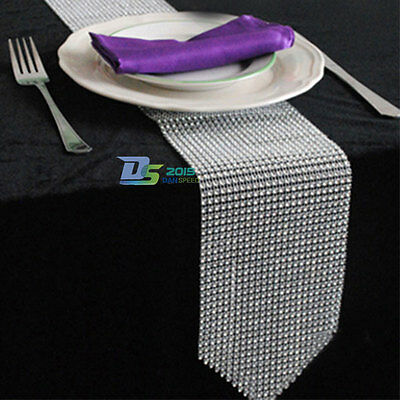 New Sparkly Diamond Mesh Bling Table Runner Cloth Decoration For Wedding Party