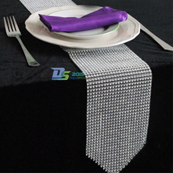 TOP QUALITY Sparkly Diamond Mesh Bling Table Runner Decoration For Wedding Party