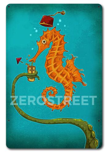 Vintage Styled Metal Sign Seahorse Tentacle Octopus Art Cocktail Mug Tiki Bar