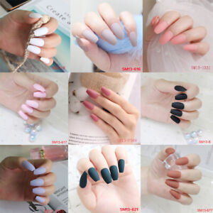 24pcs-Matte-finish-False-Nails-Art-Acrylic-Full-Cover-Tips-Manicure-With-Glue-WF