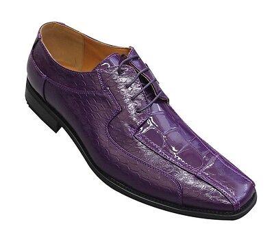 Oxfords Faux Leather Embossed Men's Dress Shoes #5732 Purple Cream 8.5 - 16