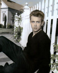 """JAMES DEAN 1950s ICON HOLLYWOOD ACTOR & MOVIE STAR 8x10"""" HAND COLOR TINTED PHOTO"""