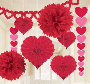 Xl Herz Deko Set Rot 9 Teile Hochzeit Party Dekoration Papier Blumen