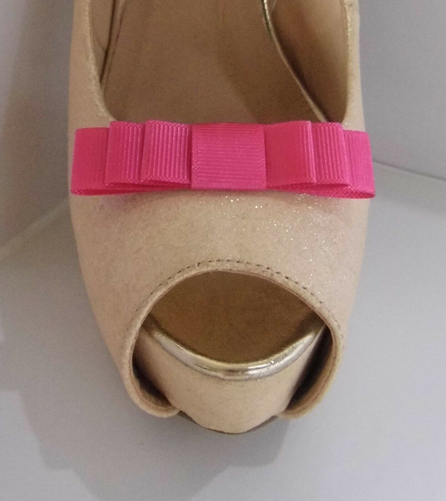 2 Small Triple Cerise Pink Grosgrain Shoe Clips - other colours on request