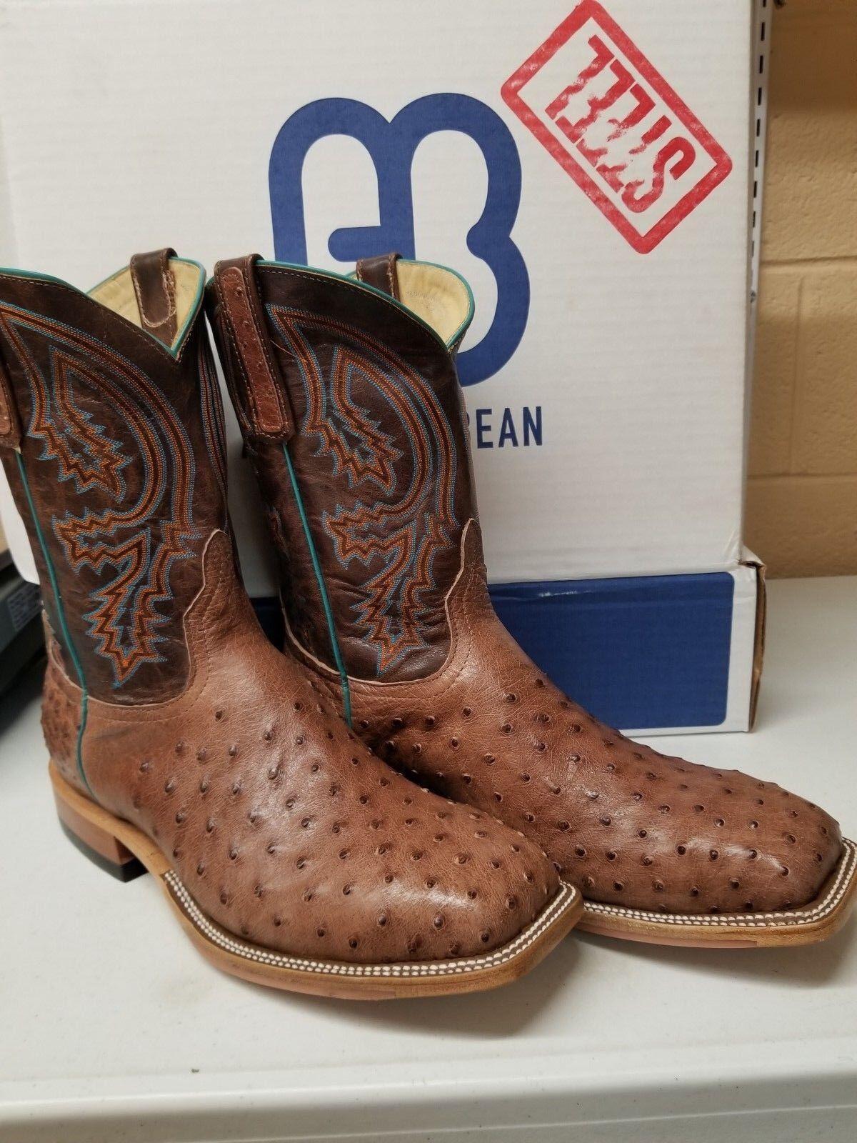 Anderson Bean Men's 4606 Ostsrich Rum Brown Steel Toe 10  Western Boots