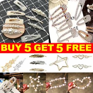 Women/'s Girls Pearl Hair Clip Gold Hairpin Slide Grips Barrette Hair Accessories