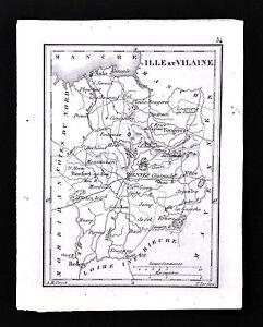 1833 Perrot Tardieu Map Ille Et Vilaine Rennes Vitre Monfort