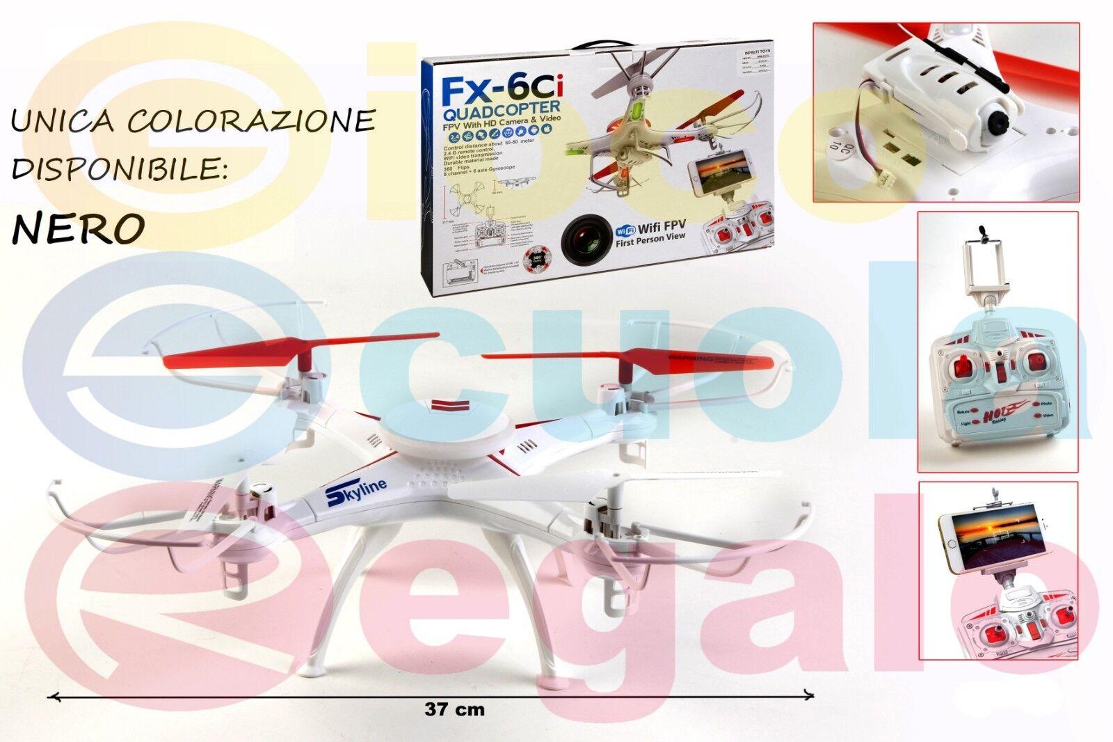 Drone Quadricottero con Videocamera HD Wi-Fi First Person View SOLO negro