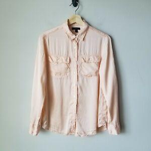 J-Crew-Pink-100-Silk-Blythe-Shirt-Button-Front-Long-Sleeve-Blouse-Size-4