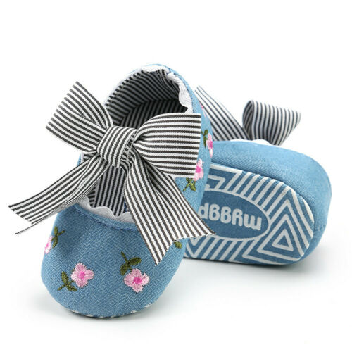Infant Baby Girls Embroidery Flower Bow Fashion Toddler First Walkers Kids Shoes