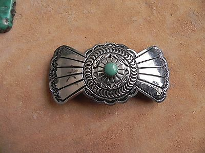 Turquoise & Stamped Silver Plated No Tarnish Hair Barrette