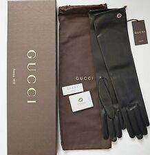 NWT Auth GUCCI INTERLOCKING G Nappa Leather Silk Lined ELBOW LONG Gloves 7.5