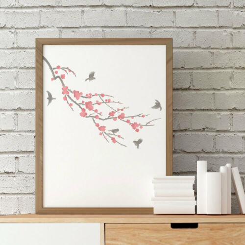 Sakura /& Birds Craft Stencil By Cutting Edge Stencils Size MEDIUM