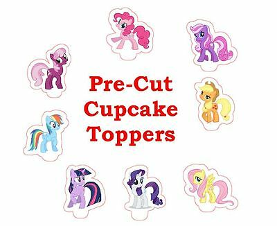 MY LITTLE PONY X24 edible stand up cup cake toppers, wafer paper *pre-cut*