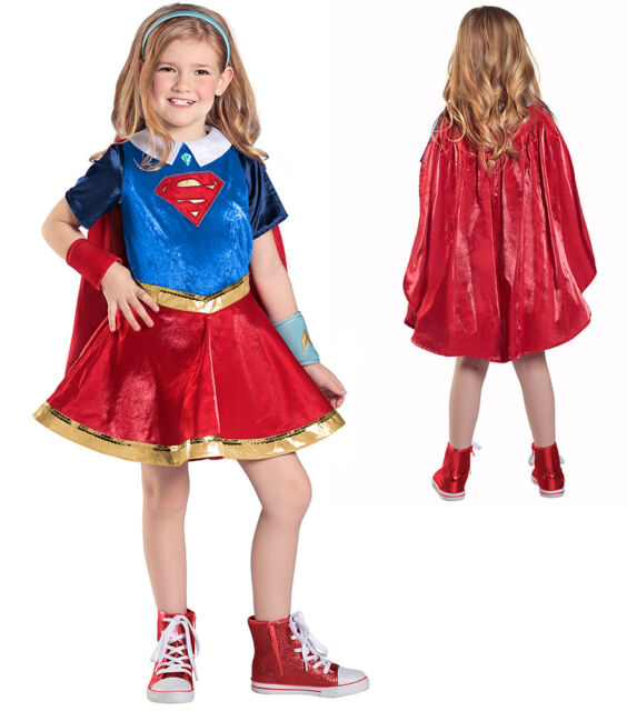 **CLEARANCE** Super Hero Girl Blue and Silver Star Girl/'s Fancy Dress Costume