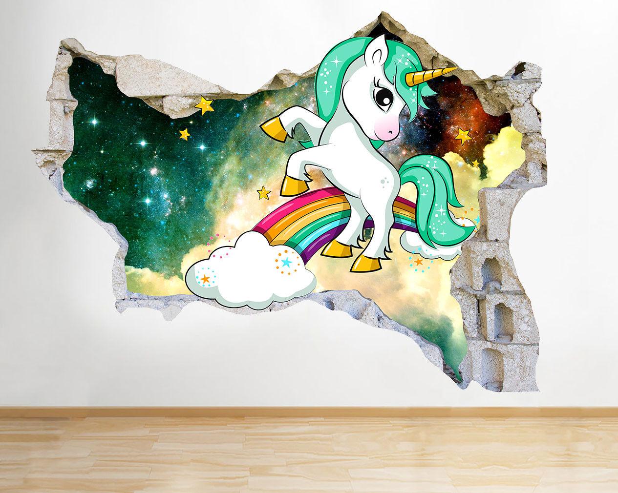 M517 Unicorn Etoiles Sky Kid Chambre Smash Autocollant Chambre 3D Vinyle enfants