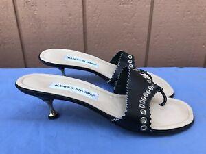 ea990e70207d EUC Manolo Blahnik 37.5 US 7.5 Black Thong Sandals Flip Flops Kitten ...