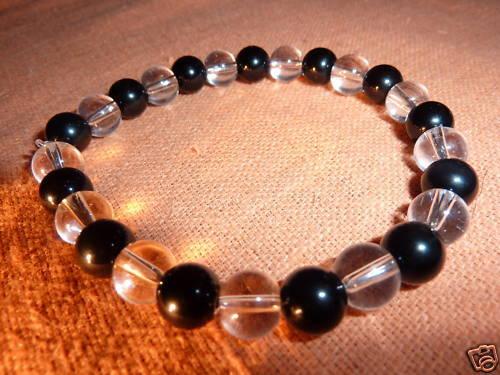 Bracelet TOURMALINE NOIRE/&QUARTZ ROCHE perles 6mm Reiki