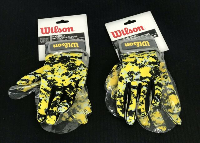 Wilson Football Receiver/'s Gloves Super-Grip Camo Yellow Silicone ADULT SIZES