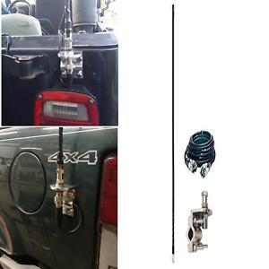 Black 4 Foot 500 Watt Cb Radio Antenna Kit with Mirror Mount and Coax