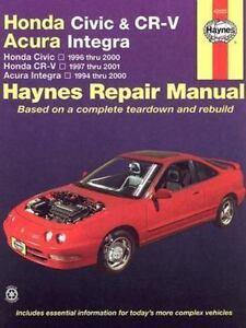 haynes repair manual honda civic and cr v acura integra honda rh ebay com 2001 honda crv service manual pdf honda cr v 2001 service manual pdf