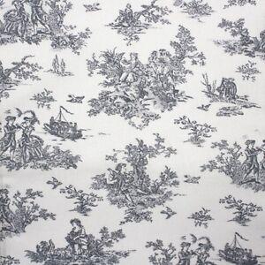 petit franz sisch toile grau baumwolle stoff blumenmuster patchwork ebay. Black Bedroom Furniture Sets. Home Design Ideas