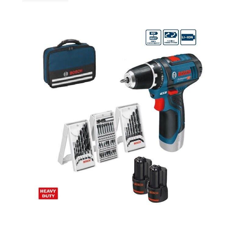 Bosch GSR 12V-15 Professional +2x 2,0Ah Akku Ladegerät 39-tlg. Zubehör-Set Tasch