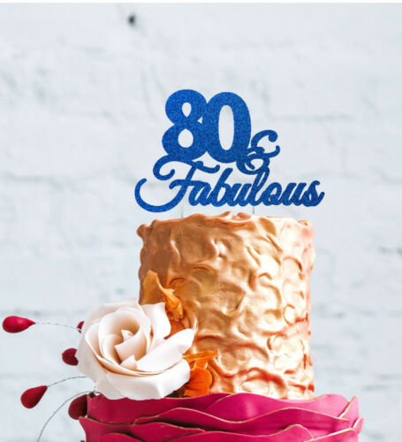 80th Birthday Cake Topper 80 /& Fabulous Cake Topper-Pailleté Bleu Foncé