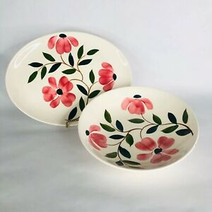 RIO-Stetson-China-Co-Serving-Bowl-and-Platter-Hand-Painted-Pink-Flower-Vintage