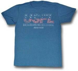 USFL-1983-1985-Logo-Men-039-s-Tee-Shirt-Lightweight-Pacific-Blue-Heather-Sizes-S-2XL