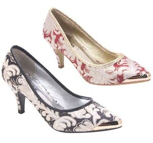 New Women s Kitten Heel Glitter Embroidered Pumps Metallic Toe Black ...