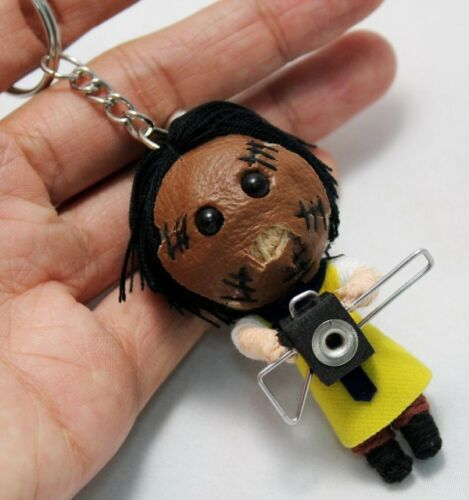 LEATHER FACE KEYCHAIN Keyring VOODOO MURDER DOLL RING STRING HANDMADE GIRL Craft